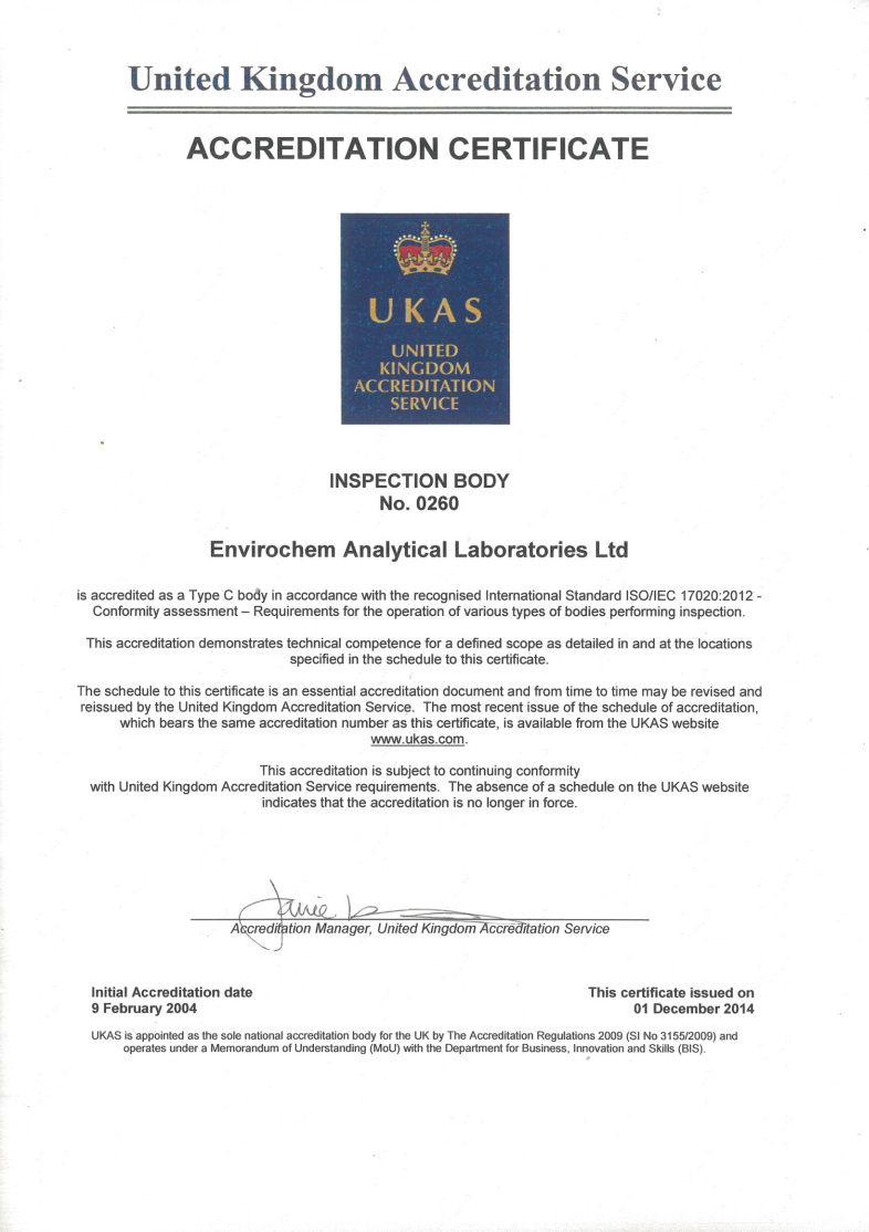 UKAS Inspection Certificate